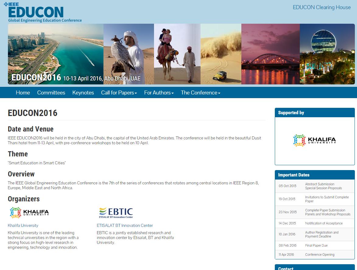 RFP – IEEE EDUCON2016 in Abu Dhabi   Lueny Morell